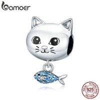 정품 925 스털링 실버 고양이 사랑 물고기 작은 펜던트 동물 매력 맞춤 원래 실버 팔찌 DIY 쥬얼리 BSC226 210512