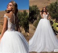 Off the Shoulder Sheer Neck Pearls A-line Bridal Dresses Cap Sleeves Wedding Gowns Lace Cristina Savulescu Arabic Beach Wedding D