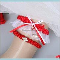Aessories, Parti Events2 Adet Beyaz Kırmızı Gelin Seti için Düğün Gelin Bacak Garters Stokta Bkgwq