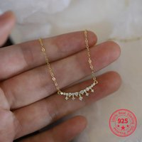 Chains 925 Sterling Silver 14k Gold Pavé Crystal Crown Pendant Smile Clavicle Chain Necklace Light Luxury Wedding Jewelry Accessories