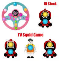 Hot TV Squid Game Fidget Spinner Simple Dimple Squeeze Push Bubble Sensory Stress Reliever for Keychains Adult Autism Antistress Christmas Decompression Toy Gifts