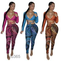 women's nightclub designer tracksuit Sexy Hollow Open Belly long Sleeve printed Pants Two Piece Set lulu365