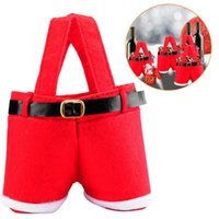 Christmas Decorations Santa Claus Suspender Pants Trousers Wine Bottle Holder Candy Bags Cute Treat Sacks Stocking Xmas Gift For Kid