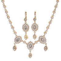 Earrings & Necklace Vintage Arabic Handmade Jewelry Crystals Wedding Hair Accessories Women Gold Headpiece Set Head Chain And