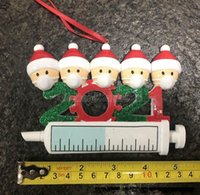 DHL-frei 2021 Weihnachtsdekoration Quarantäne-Ornamente Familie von 1-7 Köpfe DIY Baum Anhänger Zubehör mit Seilharz CJ14