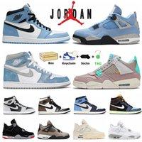 Air Jordan 1 1S Universidade Blue Mens Sapatos de Basquete Jordânia 4S 4 Black Cat Que a Vela de Criança Hyper Royal Obsidian UNC Sports Outdoor Women Sneakers