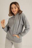 Mujer de manga con cremallera con capucha de sudor con capucha estilo hip hop temporada 2021 elegante diseño de bolsillo librar de dos piezas de dos piezas