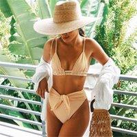 PLAVKY Sexy High Waist Belt Bikini Set 2021 Yellow Stripe Swimsuit Tie Front Women Swimwear Female Beach Wear Swim Bathing Suit