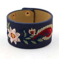 Tennis Bracelet Embroidered Cashew Flower PU Leather Wide Bangle Women's Snap Button Multicolor