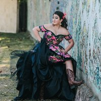 2022 Sexy Black Country Plus size Quinceanera Dresses Ball Gown 3D Floral Flowers Charro Mexicano Satin Off the shoulder XV Vestido de Sweet 15 Prom Eveening Dress