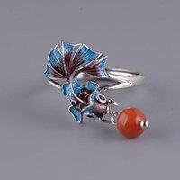 Prata chinês estilo nacional esmalte cor koi peixe pequeno retrô elegante charme sul vermelho borla tassel mulheres ajustáveis anel rings