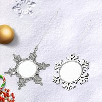 100pcs DIY Blanks Sublimation Christmas Snowflake Ornament Metal Christmas-pendant White Dye Blank Transfer Xmas Hanging Decorations Winter for Party Craft Home