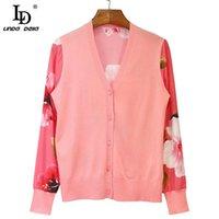 Women's Knits & Tees LD LINDA DELLA 2021 Summer Fashion Knitting Pink Blouses Women Silk Long Sleeve Splice Floral Print Cardigan Shirts