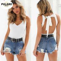 Pulabo V Cuello acolchado Bodycon Bodycon Mujeres One Piece Summer Beach Wear Play Strap Strap Casual Short Jumpsuit Romper1
