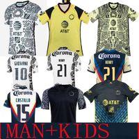 Liga MX 21 22 Club America Soccer Jerseys Green Troisième Henry 3rd Giovani Caceres B.Valdez 2021 Accueil Maillot Hommes Kit Kit Enfants Football Former Shirts