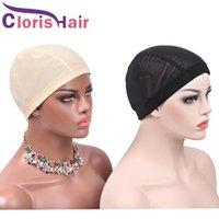 5pcs / lot Berretti a cupola a rete traspirante per parrucche Black beige facendo la parrucca Glueless Spandex Cappuccio in tessitura per capelli con bande elastiche
