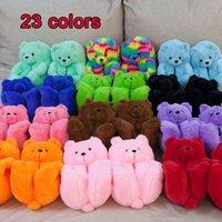 Women Home Indoor Soft anti-slip Faux Fur Cute Slippers Winter Warm Shoes Cartoon Plush Teddy Bear Slippers 922
