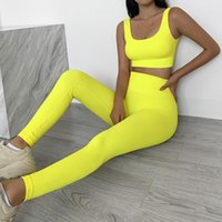Women's Two Piece Pants 2 Sets Womens Ribbed Yoga Fitness Bra And Seamless High Waisted Sports Leggings Workout Clothes For Women