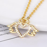 Pendant Necklaces Classic Gold Color Stainless Steel Crystal Wing Heart Pandent Necklace For Women Girl Eros Fashion Charm Zircon Jewelry BB