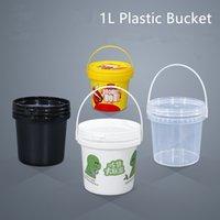 Пищевой сорт пластиковый ведро 1L пищевой контейнер с допущенной крышкой для медового клея масляная краска 5 шт. / Лот