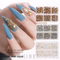 Nail Art Süslemeleri Rhinestones Çivi 3D Kristaller için AB Diamonds Taşlar Düz Geri Yuvarlak Cam Charms Jewels El Sanatları DIY Kutusu