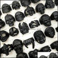 Jewelryfashion 100Pcs Lot Gothic Punk Skl Band Rings Black Colour Tough Guy Retro Mix Styles Mens Womens Jewelry Gift(Size:18Mm-2M) Drop Del