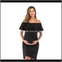 Clothing Supplies Baby, Kids & Maternity Womens Clothes Word Collar Maternity Dresses Ruffled Fashion For Pregnant Women Pregnancy Dress Q070
