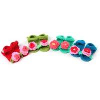 Baby First Walers Schoenen Pasgeboren Peuter Baby Schoenen Haak Gebreide Soft Sole Flower GirlsSocks Sandalen B6718