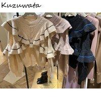 Kuzuwata Sweet Twist Patchwork Женщины Свитер Панель Каскадные Расованные Вязаные Пуловеры Осень Зима О-Шея Свободное пальто Женские Свитера