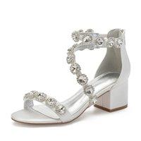 Block Heels Satin Rhinestones Wedding Sandals Shoe For Bride Open Toe Zipper Back Prom Evening Formal Party Dress Summer