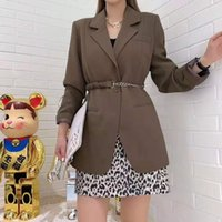 Women's Wool & Blends Brown design temperature suit jacket spring and autumn shirt with long female sleeves small blazer belt Y25B