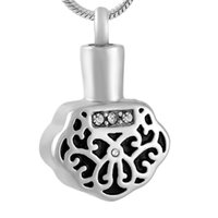 Pendant Necklaces Crystal Inlay Safety Lock Shape Cremation Jewelry Ashes Keepsake Pet Memorial Urn Locket Necklace For Women Kids Baby