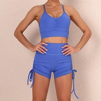 Yoga Outfit Sexy Sling Bra Set Female Hip Suit Sports Running Fitness Shorts Two Piece Women Gym Clothes