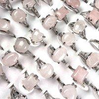 Мода розовые кристаллические кольца женские ювелирные изделия розовые кварцевые кольца 50 шт. Оптовая торговля 958 Q2