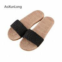 AoXunLong Summer New Linen Slippers Indoor Mute Floor Shoes Slides Men Slippers Simple Light Weight Home Flip Flops Male Sandals l5U8#
