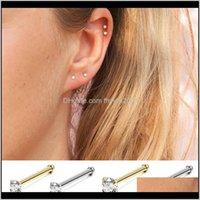 Jewelry 925 Sterling Sier Earings Clear Cz Stud Small Mini Korean Gold Earrings For Women Ear Bone Girls Jewelry Brincos Bijoux Drop Delivery