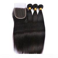 Lucky Queen класс 9А перуанской волны тела прямые волосы с закрытием девственницы волосы имеют прямые пакеты с закрытием 3 пучка с закрытием