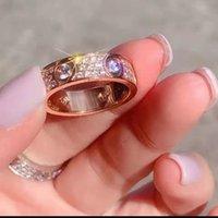 كامل الماس التيتانيوم الصلب الفضة الحب الدائري الرجال والنساء ارتفع خواتم الذهب لعشاق زوجين مجوهرات هدية