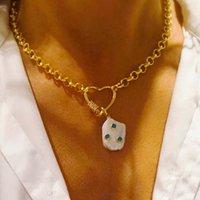 Женщины мода панк цепи ожерелье в форме сердца спиральная пряжка украшения мужчины короткое ожерелье уникальный натуральный жемчужный кулон ювелирные изделия J1218