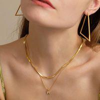 Anhänger Halsketten Buchstabenname Initial Neckalce Für Frauen Gold Multi-Layer Halskette Edelstahl Schlangenkette Frau Trendy Mode