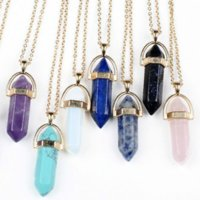 Stainless Steel Jewelry Natural Stone Pendants Statement Rose Quartz Healing Crystals Necklaces