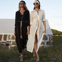 Strandkleid Hemd Vertuschung 2021 Bademode Frauen Weiße Tuniken Plus Größe Cover UPS Bikini Up Sarong Badeanzug Frauen