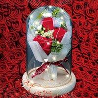 Flower Rose Gold Jewelry Box Girl Women Earring Earrings Lipstick Store Cosmetics For Wedding Birthday Valentine'S Daygifts Decorative Flowe