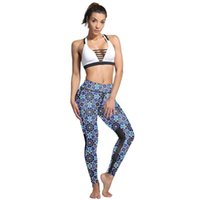 Women's Leggings 2021 Sexy Women Blue Flowers Print Mesh Patchwork Exercise Ankle Length Energy Fitness Pants Casual Trousers