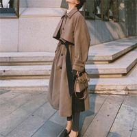 Kadın Yün Karışımları Dikiş Yün Klasik Kahverengi Ceket 2021 Sonbahar Kış Rahat Nazik Tüm Maç Bayan Femme K1089