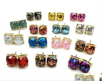 Earrings Jewelrycolorf Party Cute Elegant Design Square Glitter Sweet Stud High Quality Resins Earring Jewelry For Men Women Holiday Drop De