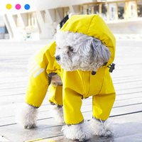Pet dog Raincoat Puppy Four Feet Hooded Jumpsuit Reflective Waterproof Jacket Fashion Outdoor Breathable Clothes for Small Dogs