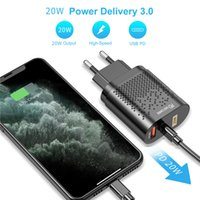 QC3.0 PD Fast Charger 20W Type C USB Quick Charging Adapter Dual Ports Phone Wall Chargers with US EU UK Plug for iPhone 12 13 Samsung Huawei