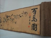 Китайская древняя картина шелковая бумага 100 лошади свиток живопись живопись животных зодиака