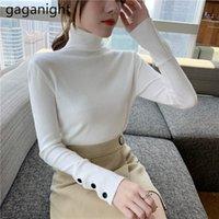 Женские свитеры Gaganight повседневная водолазка свитер твердая кнопка пуловеры с длинным рукавом элегантный шикарный корейский мода осень зима женская вершина